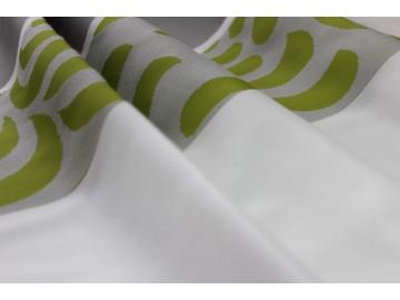 Materiał zasłonowy pasy szare z zielenią
